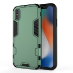 For iPhone X / XS  3 in 1 Full Coverage Shockproof PC + TPU Case(Dark Green)
