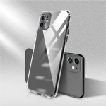 For iPhone 11 Pro Max Color Button Clear Full Coverage Shockproof TPU Case(Black)