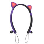 ZW29 Cat Ear Stereo Sound HIFI Fashion Outdoor Portable Sports Wireless  Bluetooth Headset with Mic & LED Light Glowing(Purple)