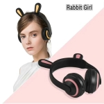 ZW19 LED 7 Colors light Bluetooth Stereo Wireless Headphones Cat Ear Flashing Glowing  Gaming Headset Earphone(Rabbit Girl)
