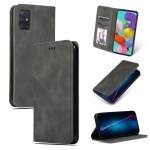 For Galaxy A51 Retro Skin Feel Business Magnetic Horizontal Flip Leather Case(Dark Grey)