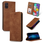 For Galaxy A71 Retro Skin Feel Business Magnetic Horizontal Flip Leather Case(Brown)
