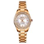 SKMEI 1534 elegant waterproof quartz steel band watch with diamond inlay(Gold)