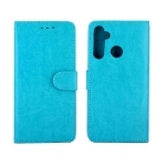 For OPPO Realme 5 Crazy Horse Texture Leather Horizontal Flip Protective Case with Holder & Card Slots & Wallet & Photo Frame(Baby Blue)