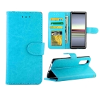 For Sony Xperia 5 Crazy Horse Texture Leather Horizontal Flip Protective Case with Holder & Card Slots & Wallet & Photo Frame(Baby Blue)
