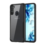 For Galaxy A11 Transparent PC + TPU Full Coverage Shockproof Protective Case(Black)