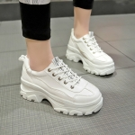 Women Shoes Platform Sneakers, Size:35(White)