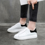 Women Shoes Leather Sponge Thick Platform Bottom Increased Breathable Sneakers, Size:37(Black White)