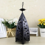 Iron Night Light Rural Retro Wind Light Candlestick Decoration(Black)