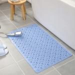 PVC Odorless Tasteless Non-Slip Bathroom Rug Bath Inserts Shower Mat Carpet with TPR Sucker Bug, Size: 50cm x 80cm (Blue)
