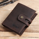 H1013 Multi-function Retro Crazy Horse Leather Zipper Coin Purse Card Bag Wallet (Coffee)