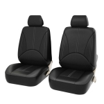 4 in 1 Universal PU Leather Four Seasons Anti-Slippery Front Seat Cover Cushion Mat Set for 2 Seat Car (Black)