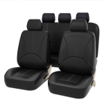 9 in 1 Universal PU Leather Four Seasons Anti-Slippery Cushion Mat Set for 5 Seat Car (Black)