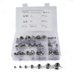 100 PCS Car 304 Stainless Steel Flange Lock Nuts Nylon Insert Locknut Kit M3-M12