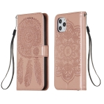 For iPhone 11 Pro Max Dream Catcher Printing Horizontal Flip Leather Case with Holder & Card Slots & Wallet & Lanyard(Rose Gold)