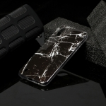 For Galaxy A01 Marble Pattern Soft TPU Protective Case(Black)
