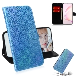 For Galaxy Note 10 Lite / A81 Solid Color Colorful Magnetic Buckle Horizontal Flip PU Leather Case with Holder & Card Slots & Wallet & Lanyard(Blue)