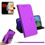 For LG K61 Lmitated Mirror Surface Horizontal Flip Leather Case with Holder & Card Slots & Wallet & Lanyard(Purple)
