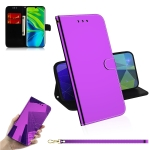 For Xiaomi Mi Note 10 Lmitated Mirror Surface Horizontal Flip Leather Case with Holder & Card Slots & Wallet & Lanyard(Purple)