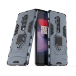 For OnePlus 8 Pro PC + TPU Shockproof Protective Case with Magnetic Ring Holder(Navy Blue)