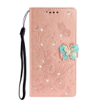 For Nokia 7.2 Diamond Encrusted Butterflies Love Flowers Pattern Horizontal Flip Leather Case with Holder & Card Slots & Wallet & Lanyard(Rose Gold)