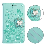 For Sony Xperia XZ3 Diamond Encrusted Butterflies Love Flowers Pattern Horizontal Flip Leather Case with Holder & Card Slots & Wallet & Lanyard(Green)