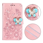 For Galaxy J730 Diamond Encrusted Butterflies Love Flowers Pattern Horizontal Flip Leather Case with Holder & Card Slots & Wallet & Lanyard(Rose Gold)