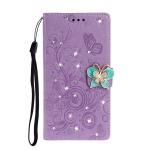 For  Xiaomi Redmi Note 8 Diamond Encrusted Butterflies Love Flowers Pattern Horizontal Flip Leather Case with Holder & Card Slots & Wallet & Lanyard(Purple)