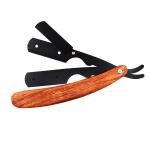 H-17 Men Classic Replaceable Blade Manual Shaver Folding Shaving Razor(Dark Wood Texture)