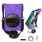 For iPad 9.7 (2018) & (2017) 360 Degree Rotation Silicone Protective Cover with Holder & Hand Strap & Long Strap & Pencil Slot(Purple)