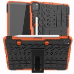 For iPad Pro 11 (2020) Tire Texture Shockproof TPU+PC Protective Case with Holder(Orange)