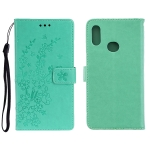 For Galaxy A10S Plum Blossom Pattern Left and Right Flip Leather Case with Bracket & Card Slot & Wallet & Lanyard(Green)