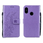 For Redmi 6 Pro Plum Blossom Pattern Left and Right Flip Leather Case with Bracket & Card Slot & Wallet & Lanyard(Purple)