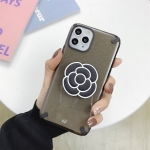 For iPhone 11 Glitter Powder Colorful Edge Shockproof Protective Case with Flower Holder(Black)