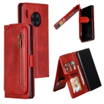 For Huawei Mate 30 Pro Nine Card Zipper Bag Horizontal Flip Leather Case With Holder & Card Slots & Frame(Red)
