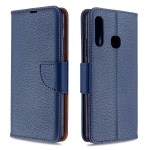 For Galaxy A70e Pure Color Horizontal Flip PU Leather Case with Holder & Card Slots & Wallet & Lanyard(Dark Blue)