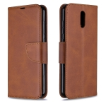 For Nokia 2.3 Retro Lambskin Texture Pure Color Horizontal Flip PU Leather Case with Holder & Card Slots & Wallet & Lanyard(Brown)