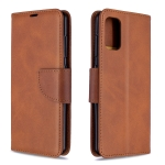 For Galaxy A41 Retro Lambskin Texture Pure Color Horizontal Flip PU Leather Case with Holder & Card Slots & Wallet & Lanyard(Brown)