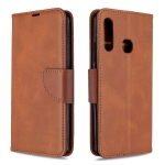 For Galaxy A70e Retro Lambskin Texture Pure Color Horizontal Flip PU Leather Case with Holder & Card Slots & Wallet & Lanyard(Brown)