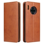 For Huawei Mate 30 Pro Fierre Shann PU Genuine Leather Texture Horizontal Flip Leather Case with Holder & Card Slots & Wallet(Brown)