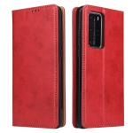 For Huawei P40 Fierre Shann PU Genuine Leather Texture Horizontal Flip Leather Case with Holder & Card Slots & Wallet(Red)