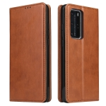 For Huawei P40 Pro Fierre Shann PU Genuine Leather Texture Horizontal Flip Leather Case with Holder & Card Slots & Wallet(Brown)