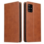 For Galaxy A51 Fierre Shann PU Genuine Leather Texture Horizontal Flip Leather Case with Holder & Card Slots & Wallet(Brown)