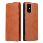 For Galaxy S20+ Fierre Shann PU Genuine Leather Texture Horizontal Flip Leather Case with Holder & Card Slots & Wallet(Brown)