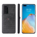 For Huawei P40 Pro Fierre Shann Crocodile Texture PU Leather Protective Case with Card Slot(Grey)