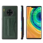 For Huawei Mate 30 Pro Fierre Shann Full Coverage PU Leather Protective Case with Holder & Card Slot(Green)