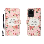 For Galaxy S20 Ultra 3D Colored Drawing Horizontal Flip Leather Case with Holder & Card Slot & Wallet(Rose Flower)