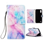 For Galaxy A01 Painted Pattern Horizontal Flip Leather Case with Holder & Card Slots & Wallet(Pink Blue Marble)
