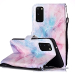 For Galaxy A51 Painted Pattern Horizontal Flip Leather Case with Holder & Card Slots & Wallet(Pink Blue Marble)