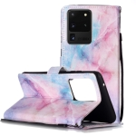 For Galaxy S20 Ultra Painted Pattern Horizontal Flip Leather Case with Holder & Card Slots & Wallet(Pink Blue Marble)